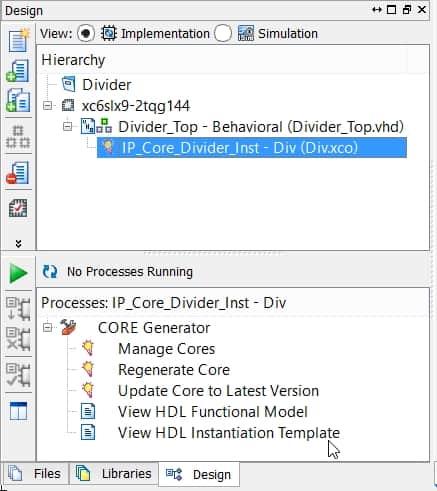 نمایش محل گزینهی View HDL Instantiation Template در نرمافزار ISE