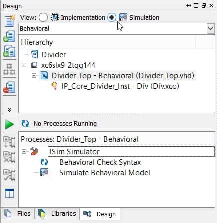 نمایش نحوهی انتخاب گزینهی شبیهسازی در نرمافزار ISE