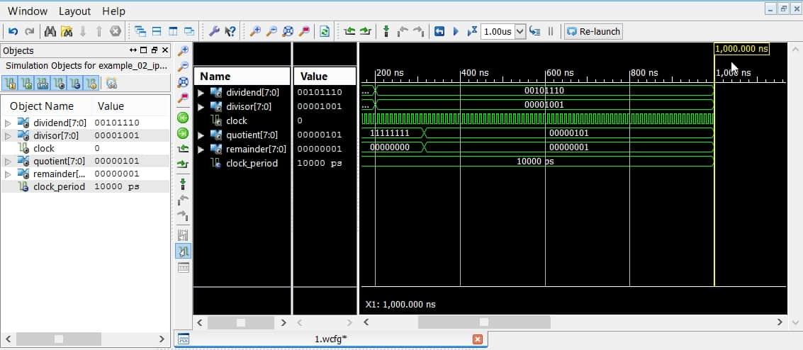 نمایش شبیهسازی در نرمافزار ISim به مدت یک میکروثانیه