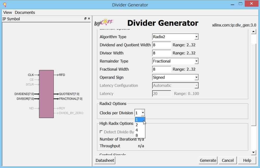 نمایش پنجرهی تنظیمات IP تقسیمکننده؛ Clock per Division