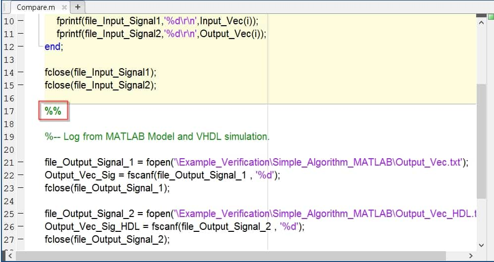 نمایش نحوهی تقسیم کد متلب به چند زیربخش برای شبیهسازی هر قسمت به صورت جداگانه