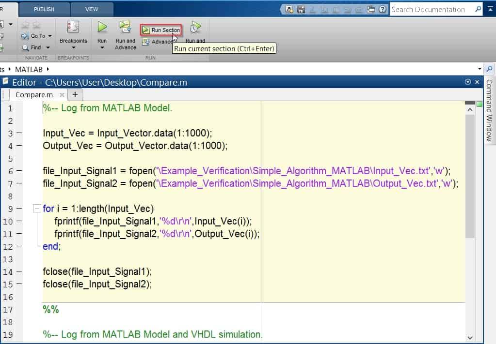 نمایش نحوهی شبیهسازی هر قسمت از کد متلب به صورت جداگانه