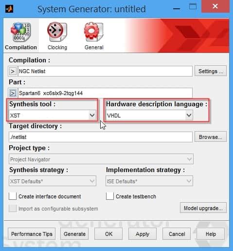 نمایش نحوهی انتخاب نرمافزار سنتز و زبان توصیف سختافزار در تنظیمات بلوک System Generator
