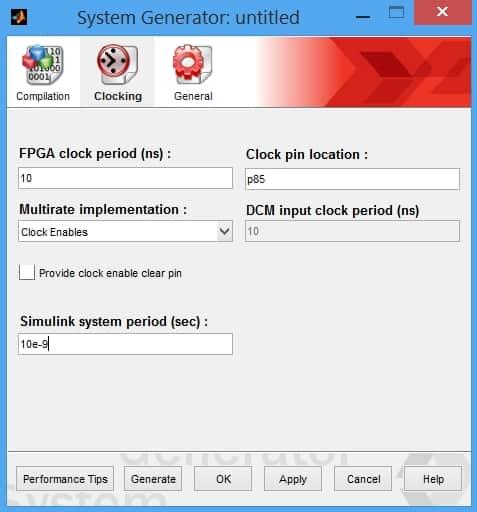 نمایش پنجرهی تنظیمات بلوک System Generator؛ بخش Clocking