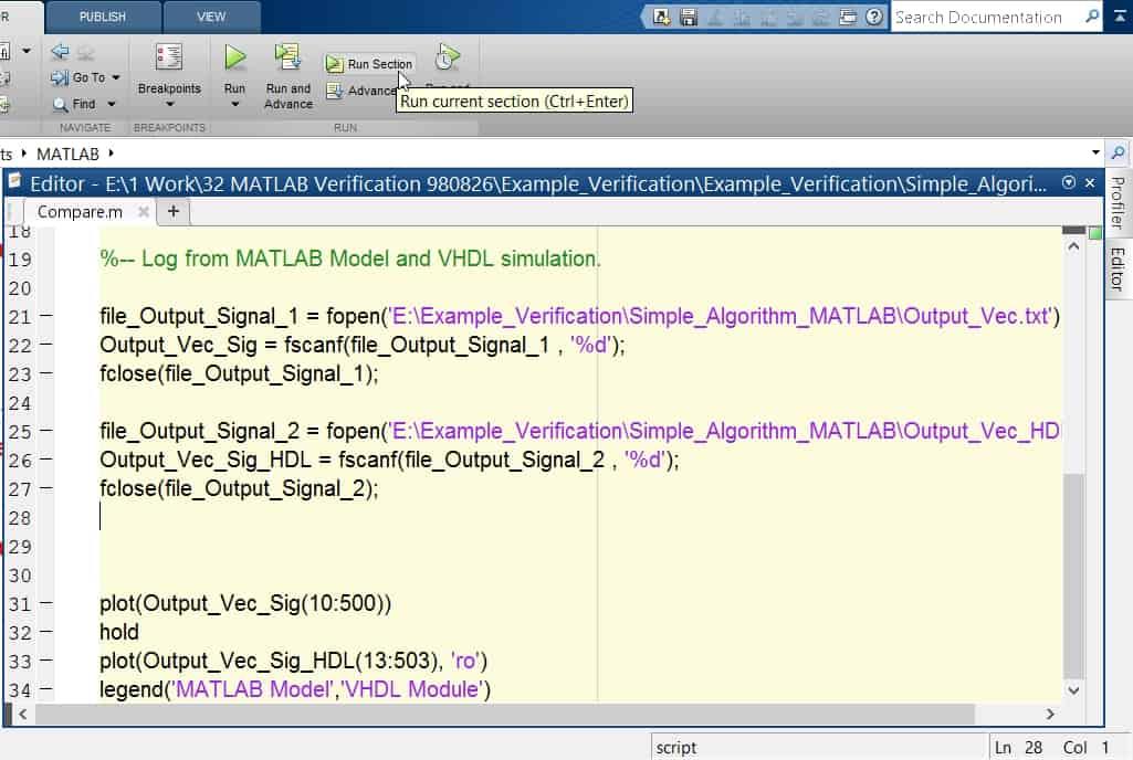 نمایش کد متلب برای پلات کردن خروجی مربوط به مدل متلب و خروجی حاصل از شبیهسازی کد VHDL