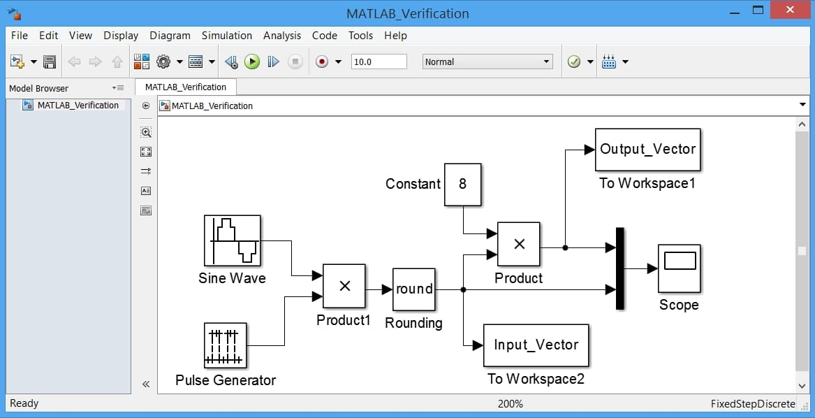 نمایش یک مدل ساده سیمولینک جهت به کارگیری در فرایند درستیآزمایی به کمک نرمافزار متلب