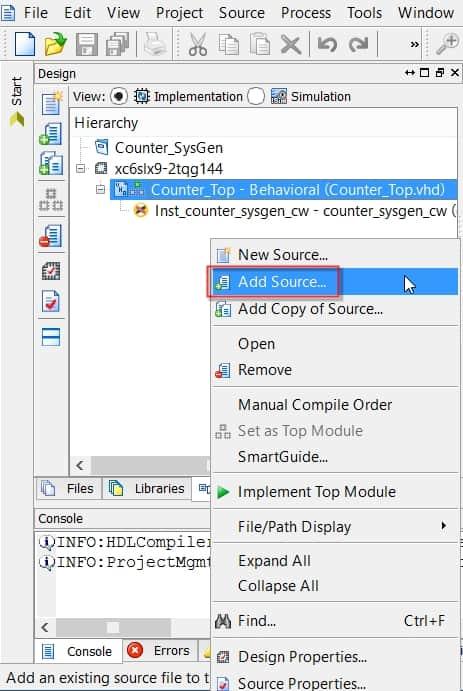 نمایش نحوهی اضافه کردن ماژول ساخته شده توسط System Generator به پروژه