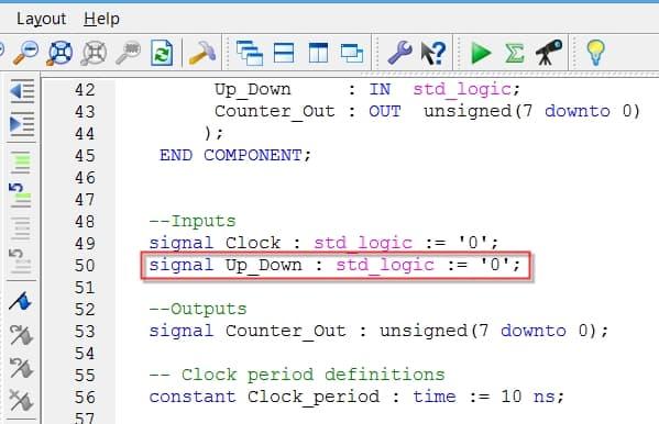 نمایش مقدار پیشفرض یا مقدار اولیه ورودی Up_Down در تستبنچ