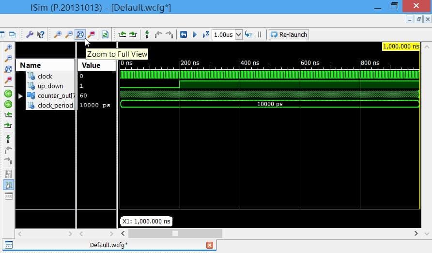 گزینهی Zoom to Full View در نرمافزار ISim، برای نمایش کل شبیهسازی در یک قاب