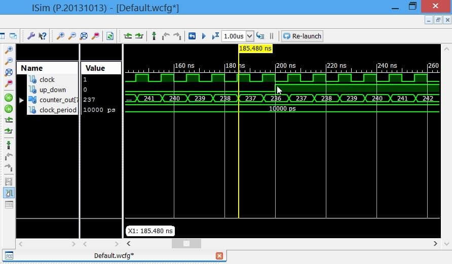 نمایش نتیجهی شبیهسازی کد پیادهساز Counter
