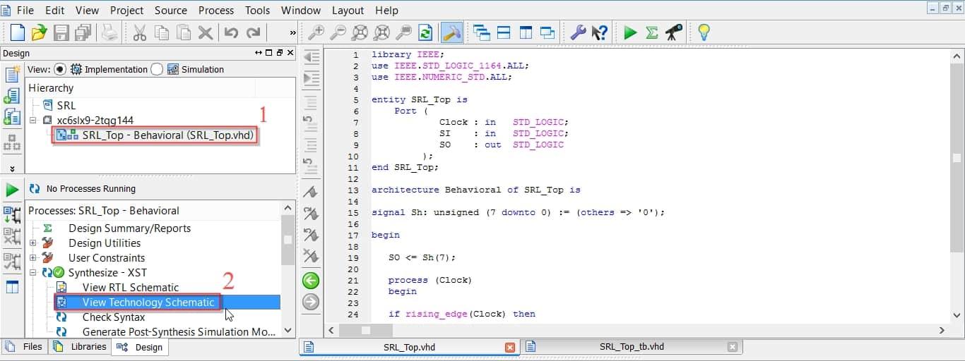 نمایش نحوهی اجرای View Technology Schematic در نرمافزار ISE