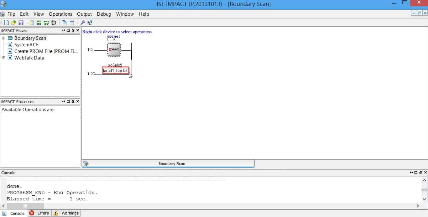 اعمال بیت-فایل به FPGA توسط نرمافزار iMPAC