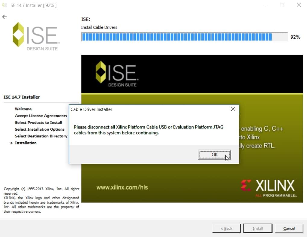 هشدار جدا کردن پروگرامر از کامپیوتر در هنگام نصب ISE