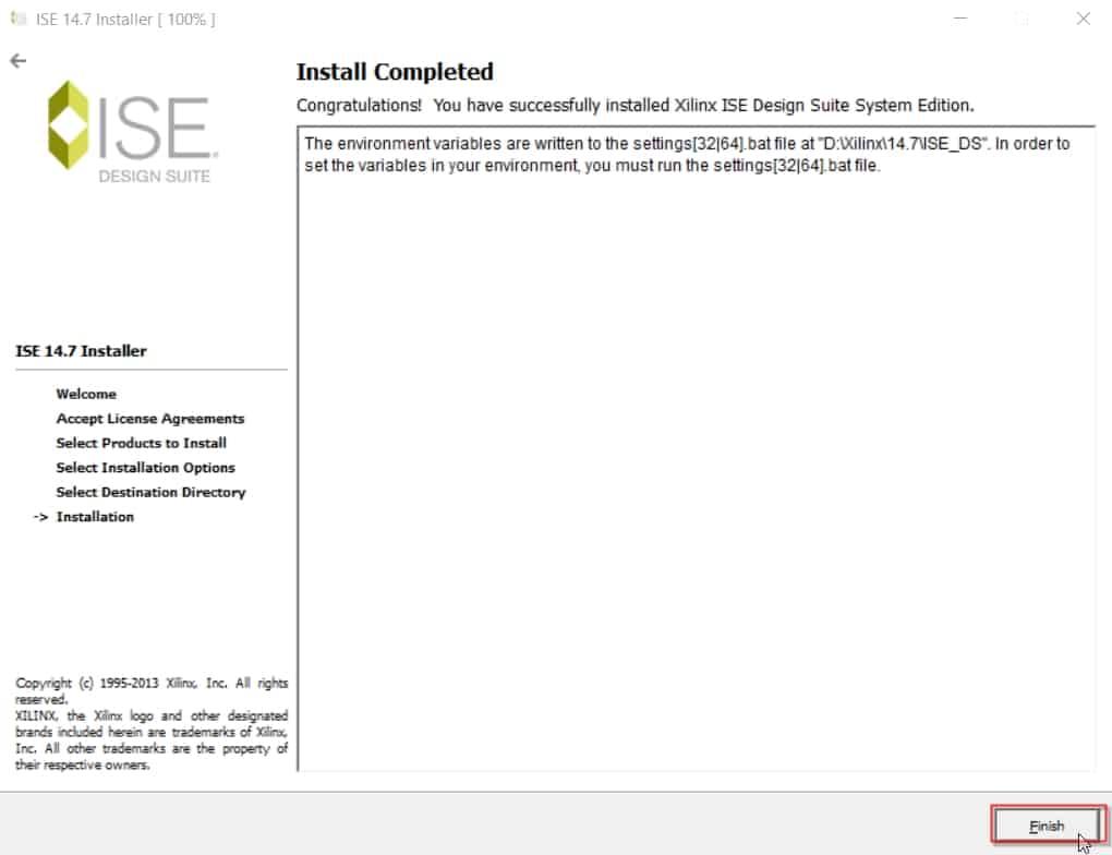 پایان نصب نرمافزار ISE