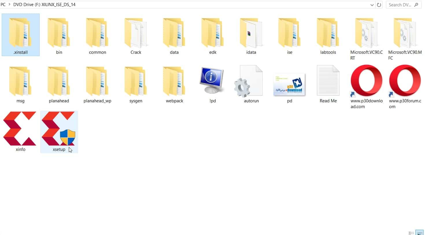 نمایش فایلهای نصبی نرمافزار ISE
