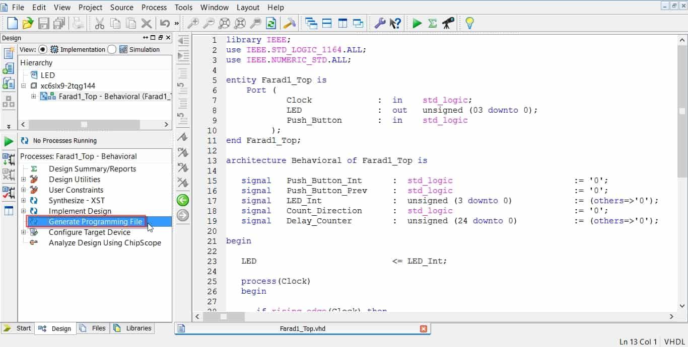 انجام مراحل سنتز، جانمایی، مسیریابی و ساخت بیت-فایل در نرمافزار ISE