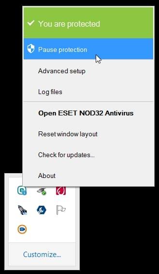 نمایش غیرفعال کردن آنتیویروس برای نصب ISE