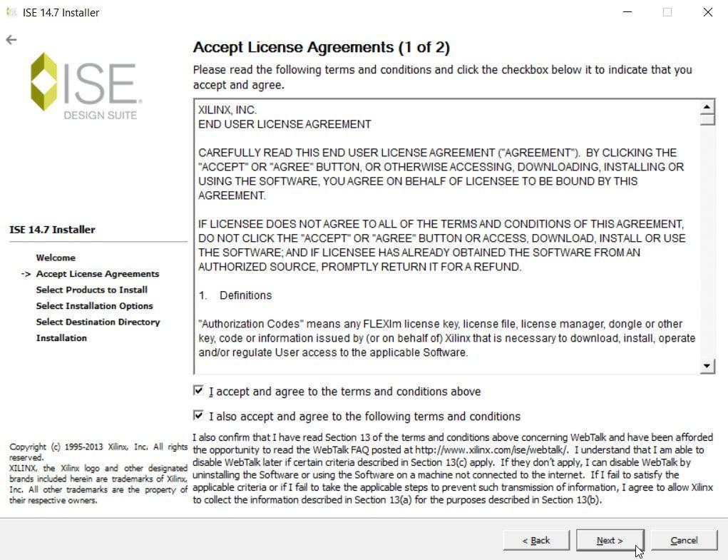 نمایش پذیرش توافقنامهها برای نصب نرمافزار ISE