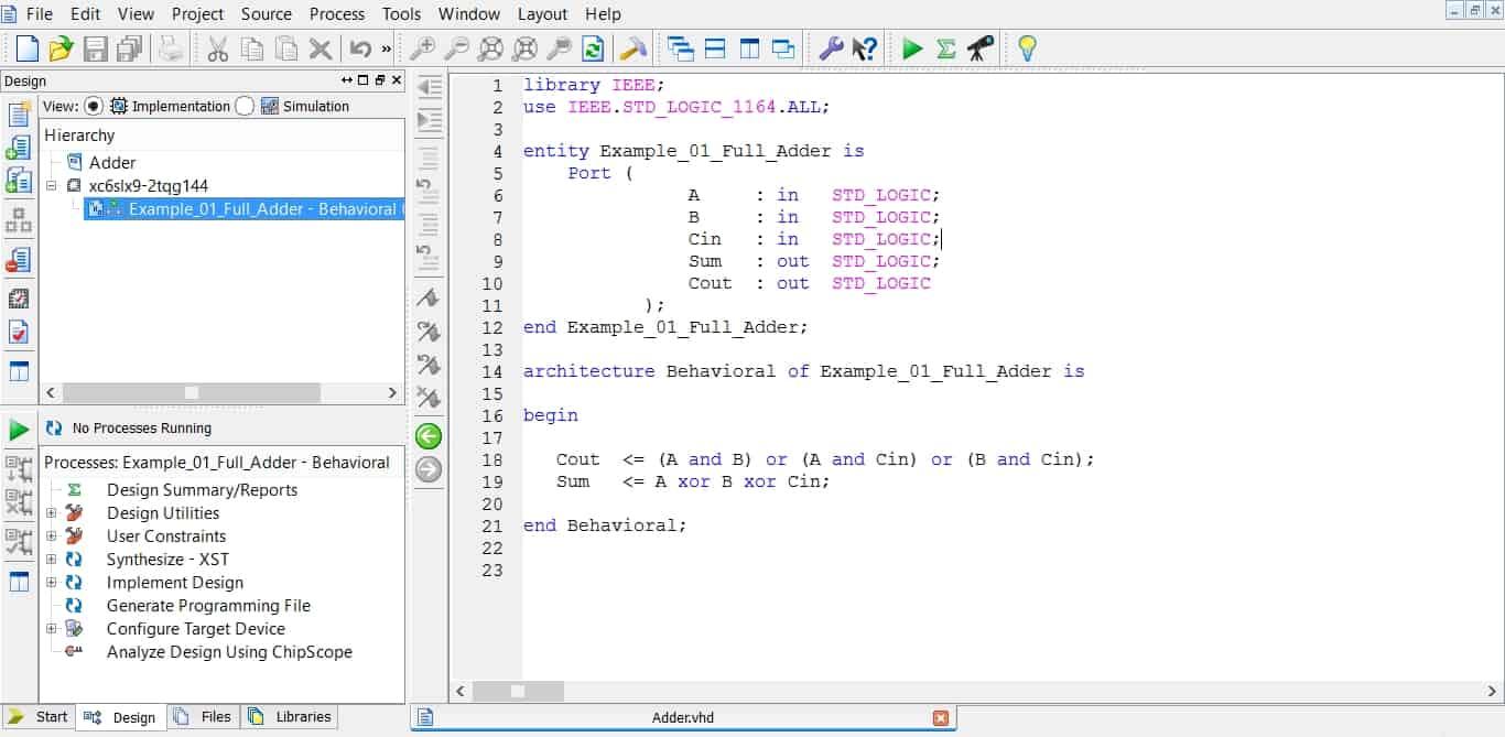 نمایش یک کد VHDL در محیط نرمافزار ISE