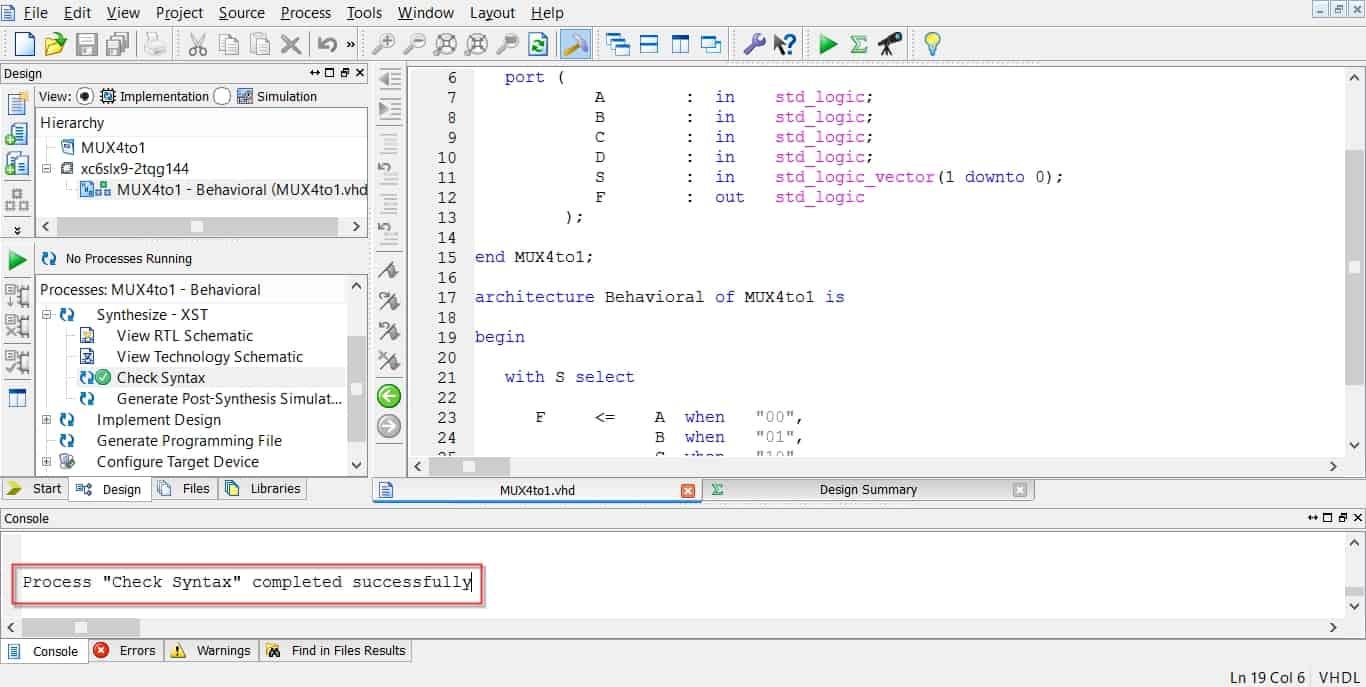 نمایش پیغام صحیح بودن Syntax کد