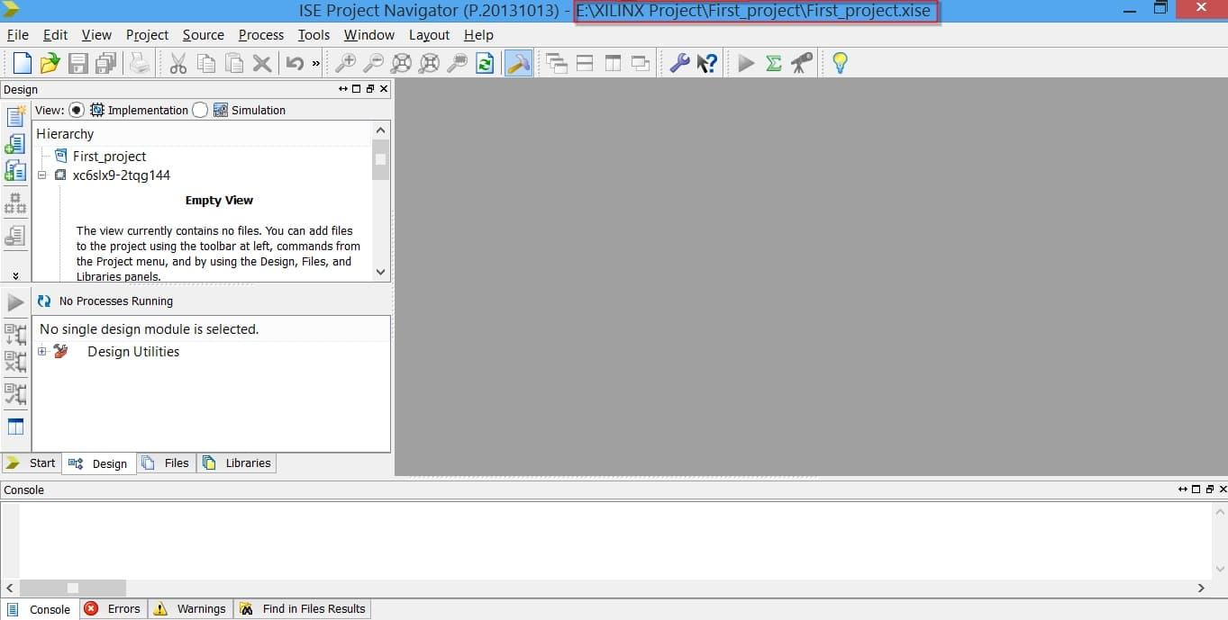 صفحهی اولیهی یک پروژه در ISE