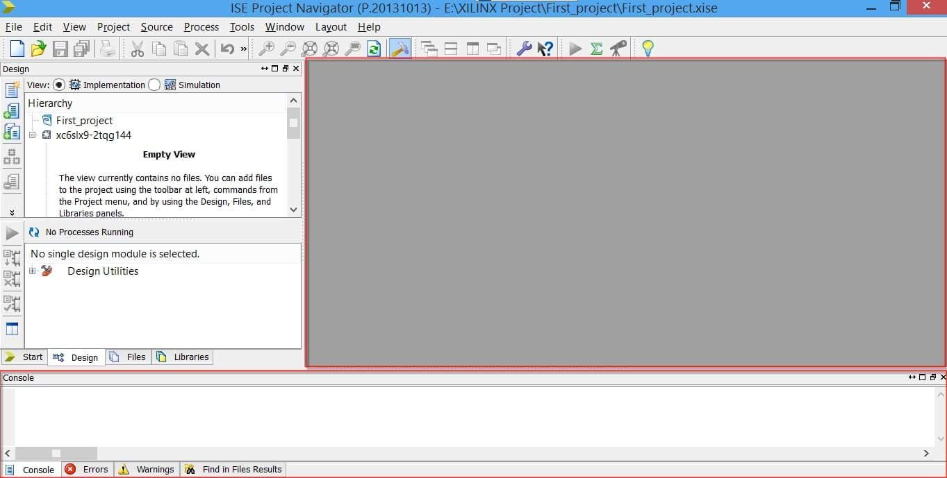 محل قرارگیری پنجرهی Editor و پنجرهی Console در نرمافزار ISE
