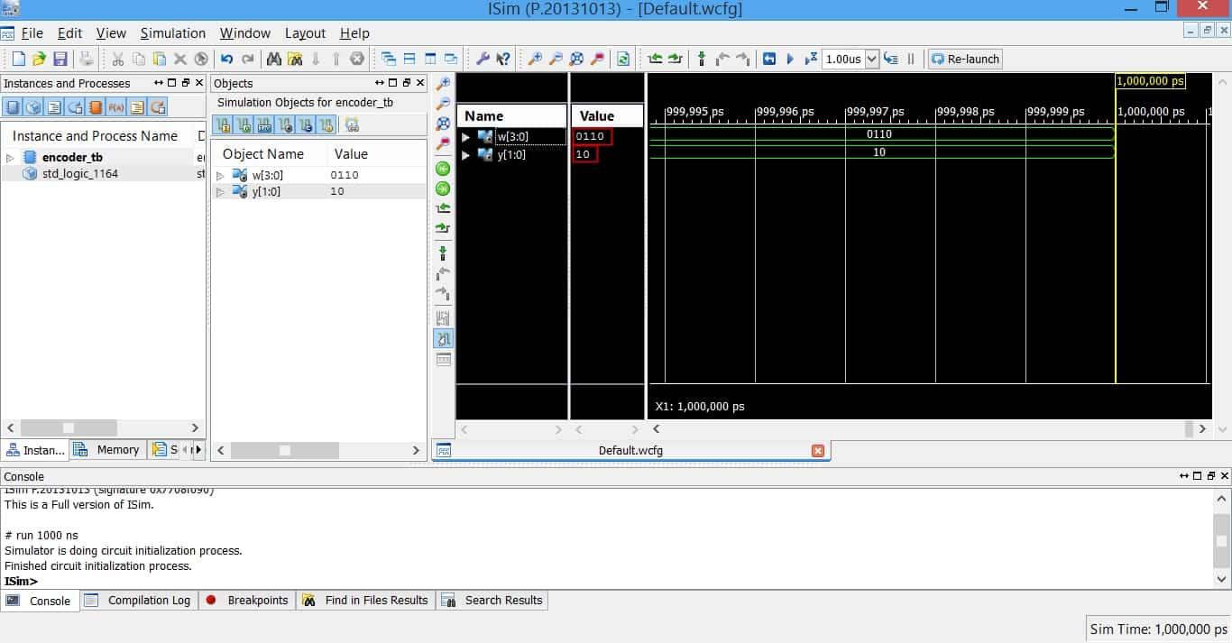 مقادیر ورودیها و خروجیها در نرمافزار شبیهساز ISim