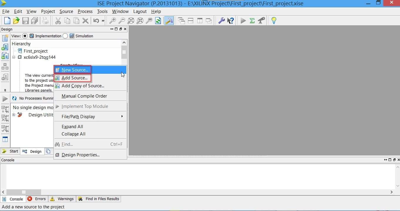 اضافه کردن ماژول به پروژه در نرمافزار ISE