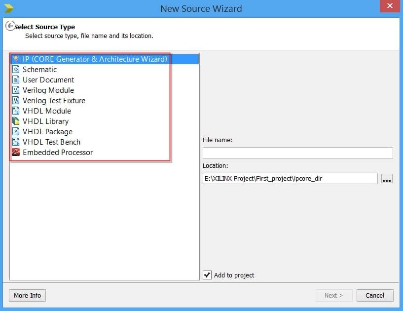 انواع ماژولهایی را که میتوان در نرمافزار ISE به پروژه اضافه کرد