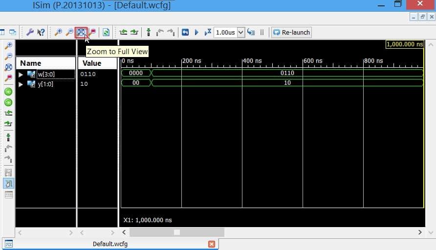 گزینهی zoom to full view، برای دیدن کل زمان شبیهسازی در یک قاب