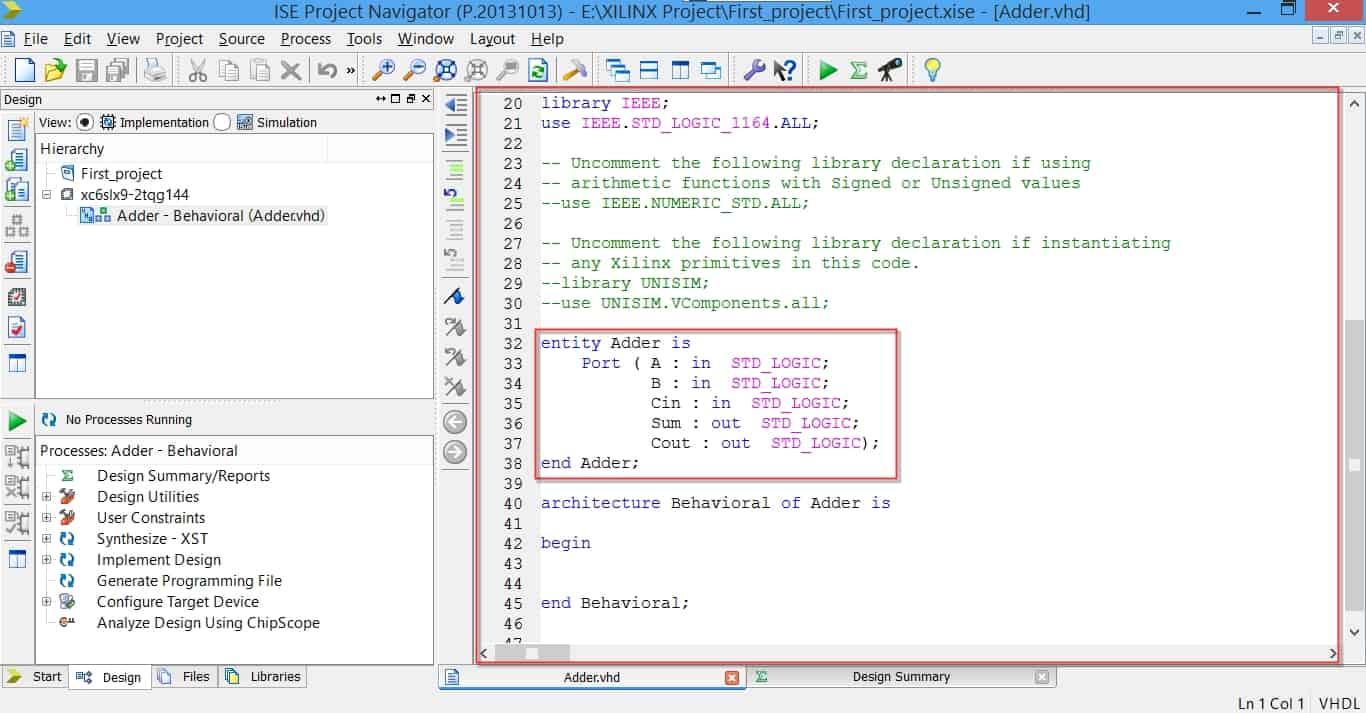 کد VHDL اولیهی ساخته شده توسط نرمافزار
