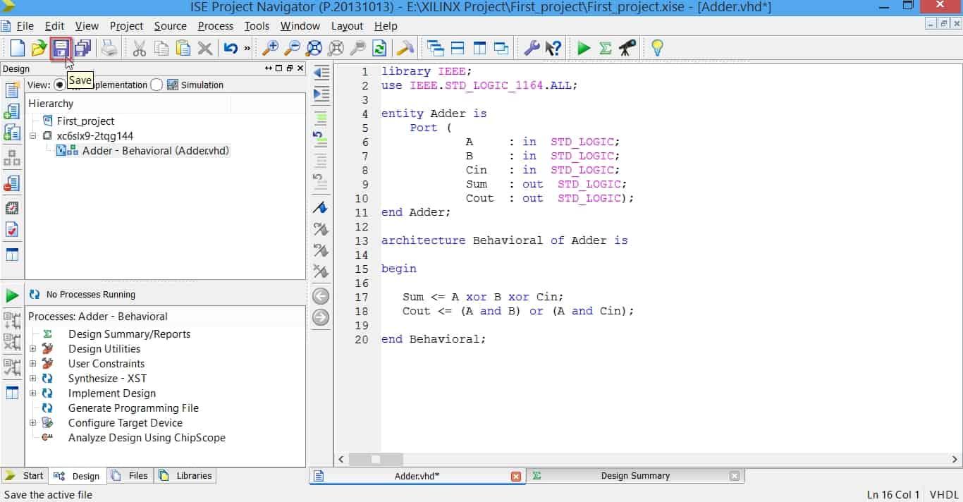 ذخیرهی تغییرات ایجاد شده در کد VHDL