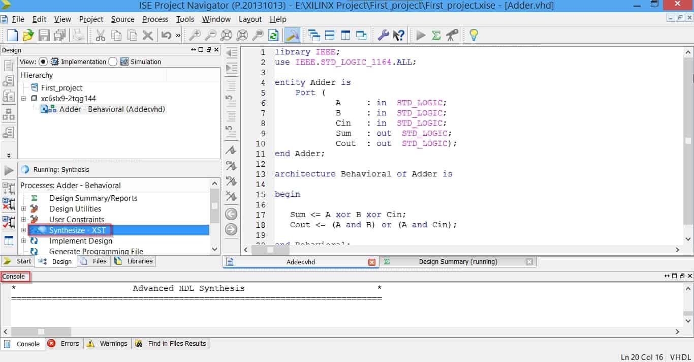 سنتز کد VHDL در نرمافزار ISE