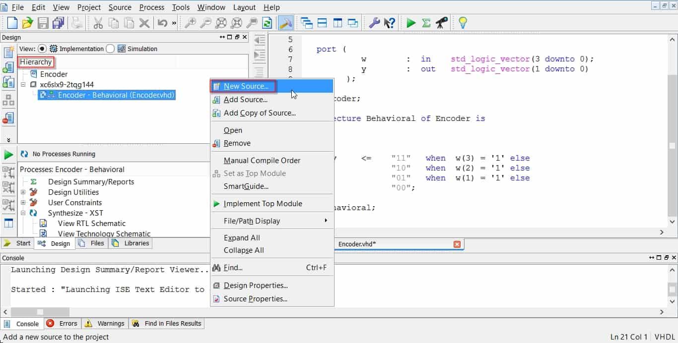 اولین گام در ساخت فایل تستبنچ برای شبیهسازی در نرمافزار ISim