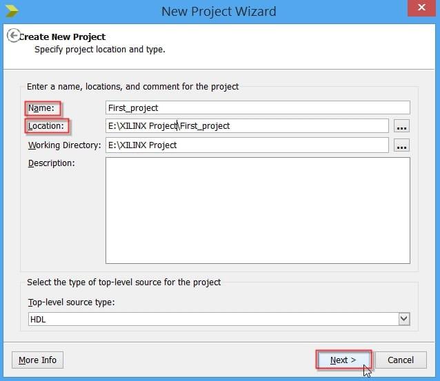 تعیین نام و محل قرار گرفتن پروژه در نرمافزار ISE
