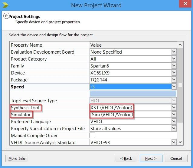 انتخاب نرمافزار سنتز و شبیهسازی در ساخت یک پروژهی جدید در ISE