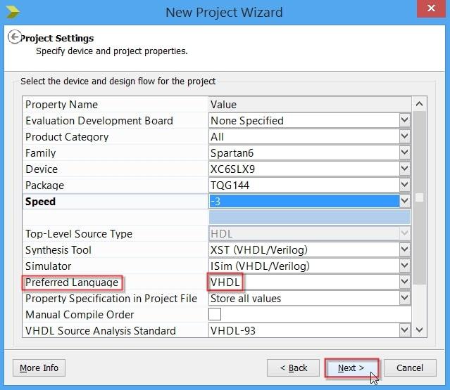 تعیین گزینهی Preferred Language در ساخت پروژه در نرمافزار ISE