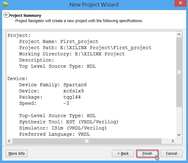 پنجرهی خلاصه اطلاعات ساخت پروژه