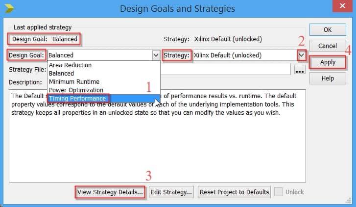 تعیین هدف پیادهسازی برای نرمافزار ISE؛ روش Design Goals & Strategies
