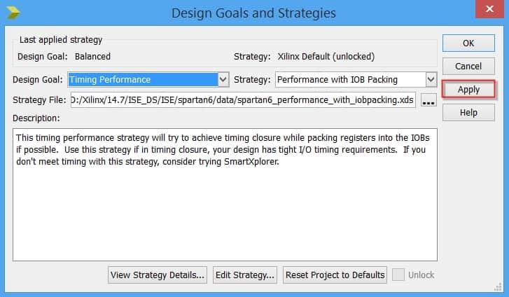 انتخاب و اعمال هدف پیادهسازی در پنجره Design Goals and Strategies