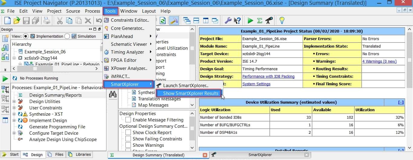 تعیین هدف پیادهسازی برای نرمافزار ISE؛ روش SmartXplorer