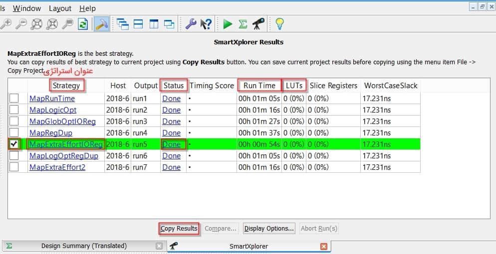 جدول نتایج روش SmartXplorer