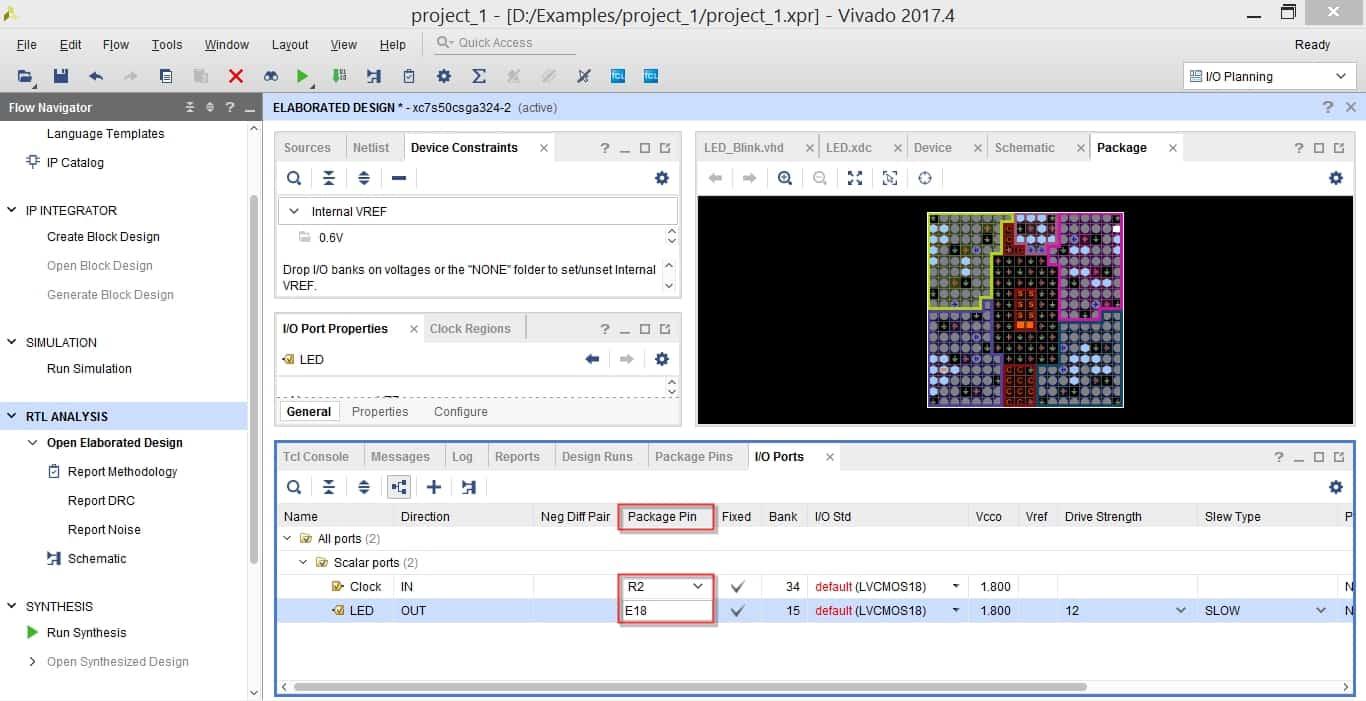 عملیات pin assignment در نرمافزار ویوادو