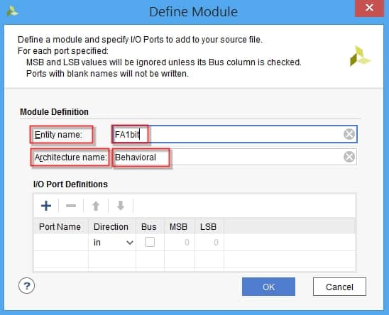 تنظیمات ماجول VHDL در نرمافزار ویوادو
