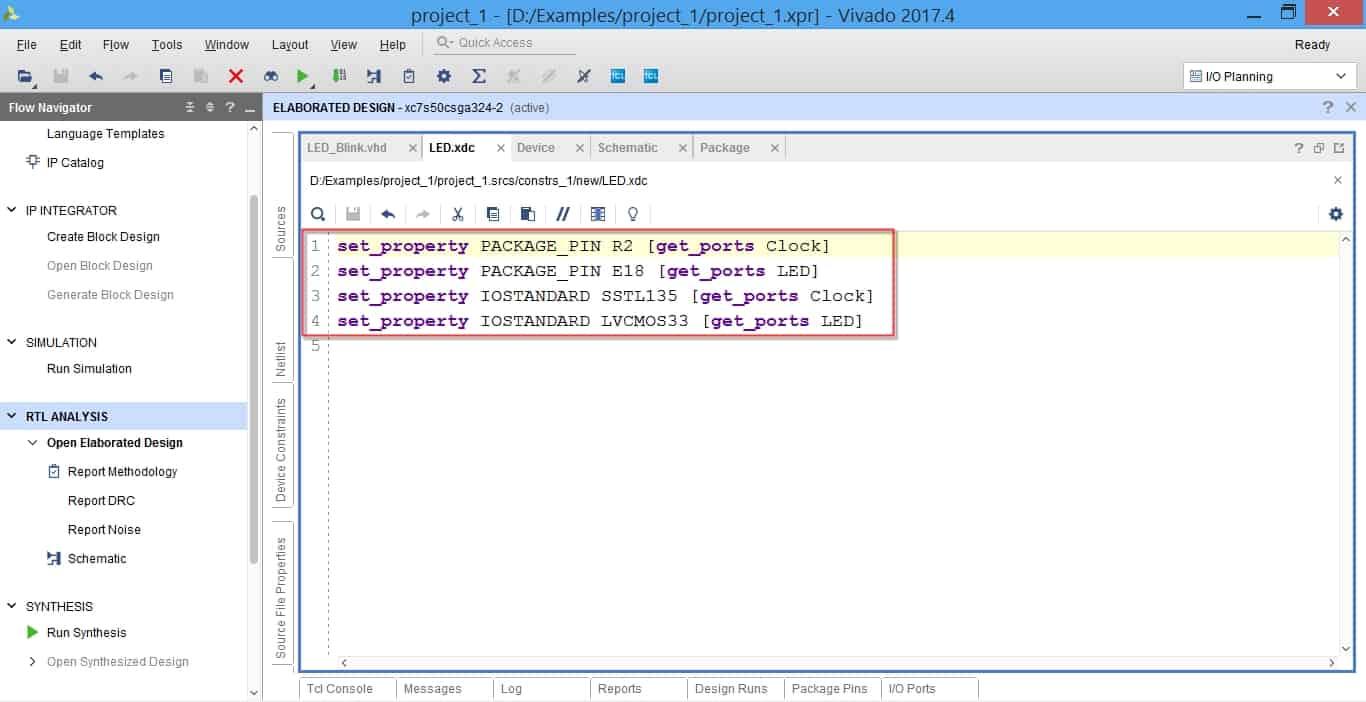 قیدهایی که توسط نرمافزار بهصورت خودکار در فایل XDC ایجاد شدهاند.
