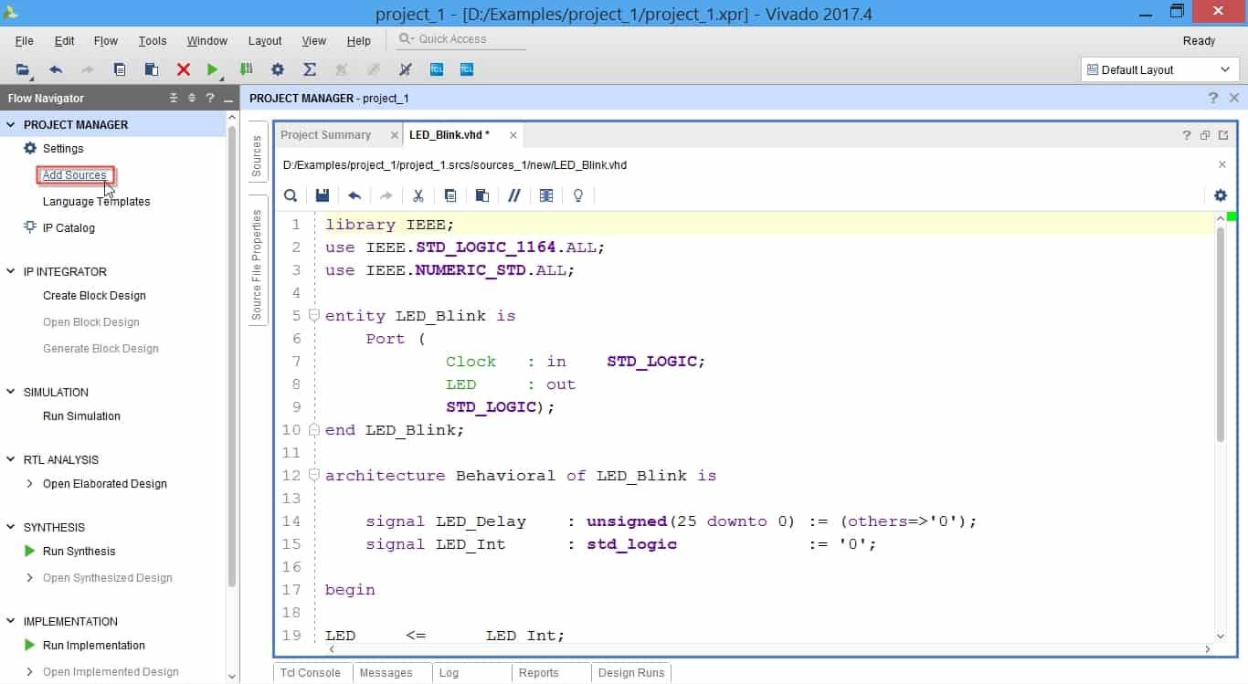 مراحل ساخت و افزودن فایل XDC به پروژه در نرمافزار ویوادو
