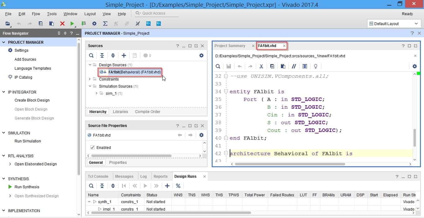 مشاهده و ویرایش کد درون ماجول VHDL