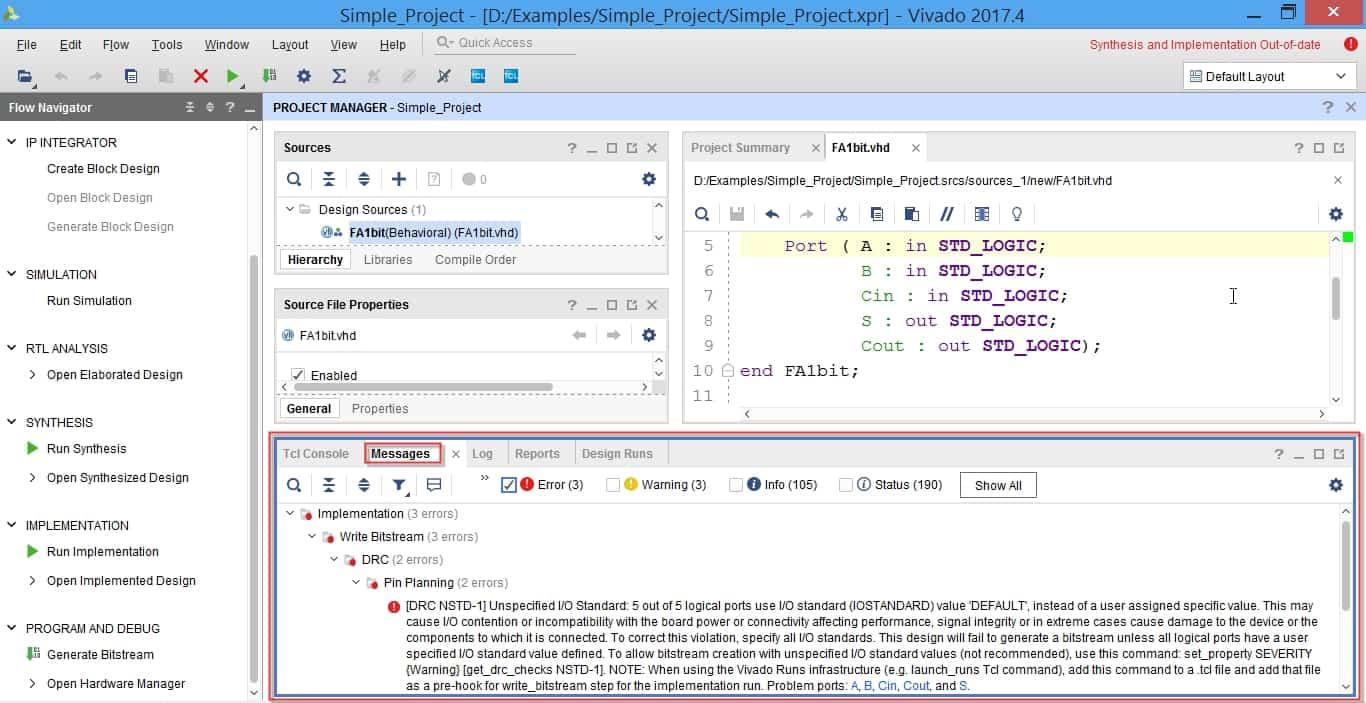 مشاهده خطاها در قسمت messages در نرمافزار ویوادو