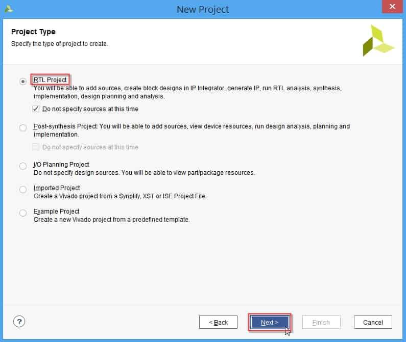 انتخاب نوع پروژه در نرمافزار ویوادو