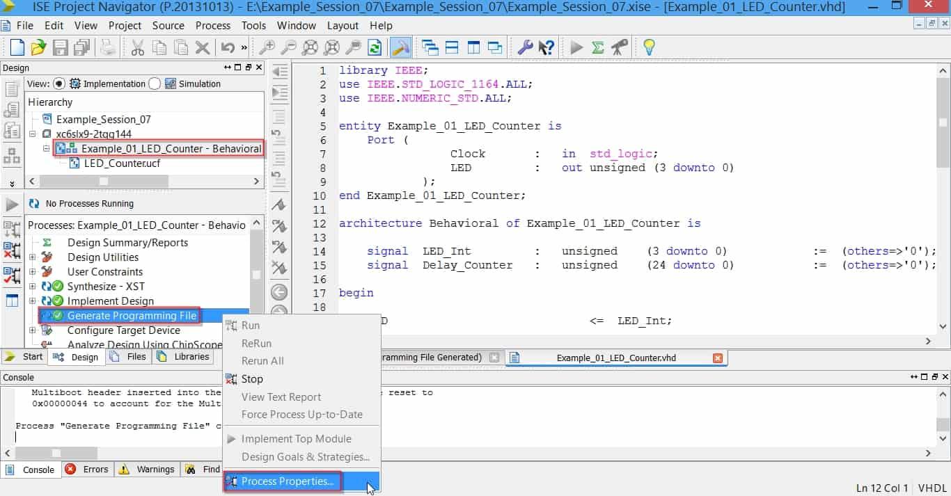 مراحل ساخت بیتفایل برای پروگرام کردن دائمی FPGA